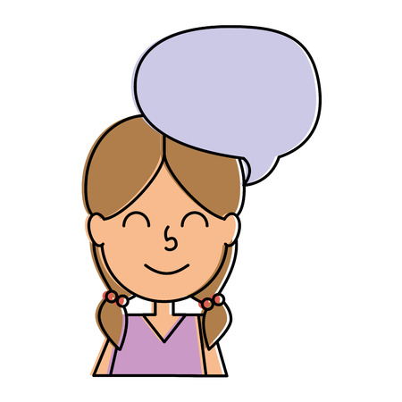 Cute little girl with speech bubble character vector illustration design