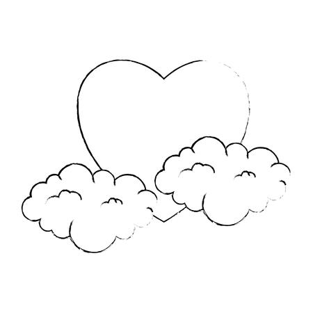 雲ベクトルイラストデザインのハートラブステッカーアート