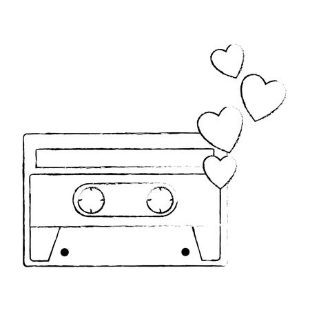 retro cassette with hearts sticker icon vector illustration design