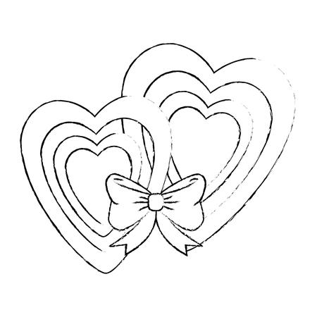 harten houden van sticker kunst met vlinderdas vector illustratie ontwerp Stock Illustratie