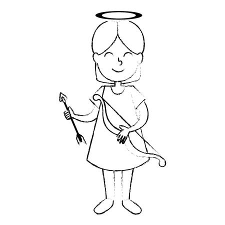 little girl angel with arch vector illustration design Imagens - 95613291