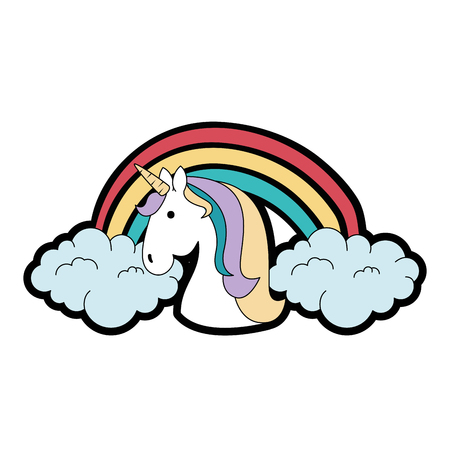 cute unicorn with rainbow fantasy sticker vector illustration design