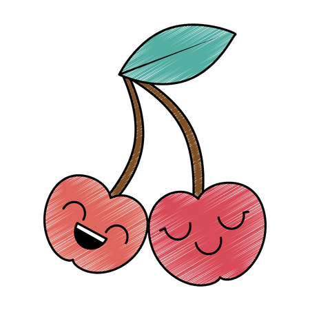cute cherries  character vector illustration design Illustration