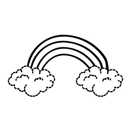 cute rainbown with clouds sticker vector illustration design Illusztráció