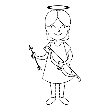 little girl angel with bow and arrow vector illustration design Illustration