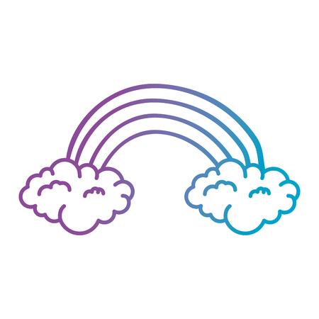 雲のステッカーベクトルイラストデザインとかわいい虹  イラスト・ベクター素材