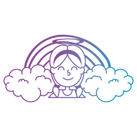 little girl angel with rainbow vector illustration design