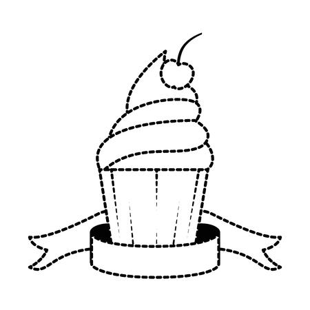 Delicious cupcake sticker icon vector illustration design