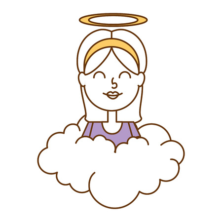 little girl angel with halo over cloud vector illustration design