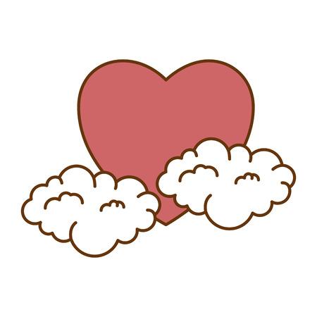 雲ベクトルイラストデザインと心の愛ステッカーアート