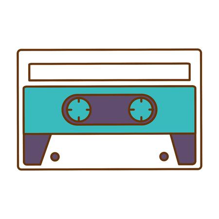 retro cassette sticker icon vector illustration design
