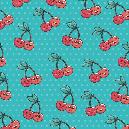 Cute cherries kawaii character pattern vector illustration design Ilustracja