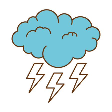 weather cloud rainy with rays vector illustration design