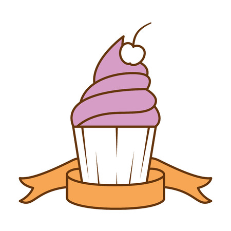 Delicious cupcake sticker icon vector illustration design
