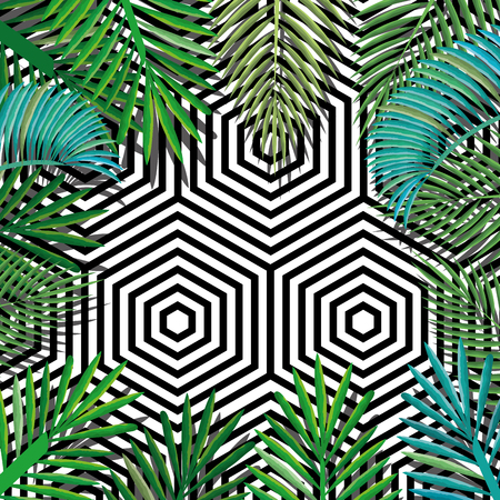 tropical flower with abstract background vector illustration design leaves and flowers, summer and geometric pattern Illustration