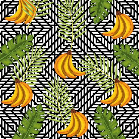 Tropical flower and banana with banana abstract background vector illustration design leaves and flowers, summer and geometric pattern.