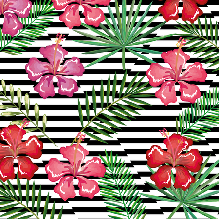 Tropical flower with abstract background vector illustration design leaves and flowers, summer and geometric pattern.