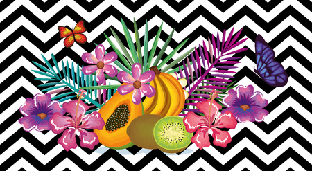 tropical flower with fruits abstract background vector illustration design leaves and flowers, summer and geometric pattern