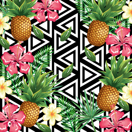 Tropical flower and pineapple with abstract background. Vector illustration design leaves and flowers, summer and geometric pattern. Ilustracja