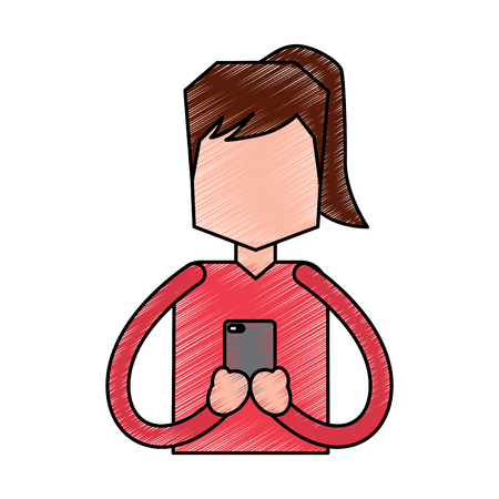 Portrait woman chatting with smartphone vector illustration drawing image