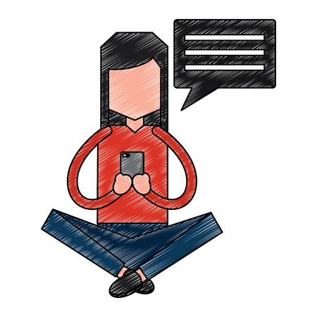 woman sitting with smartphone sending message speech bubble vector illustration drawing image Illustration