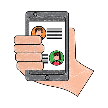 Hand holding smartphone chat messages in screen vector illustration drawing image Stock Illustratie