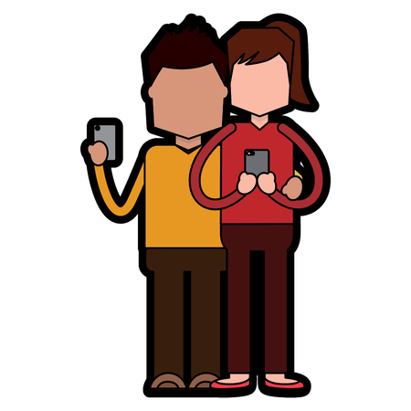 Woman and man holding smartphone typing text and sending messages full-length portrait vector illustration