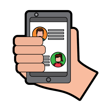 Hand holding smartphone chat messages in screen vector illustration Stockfoto - 95662144