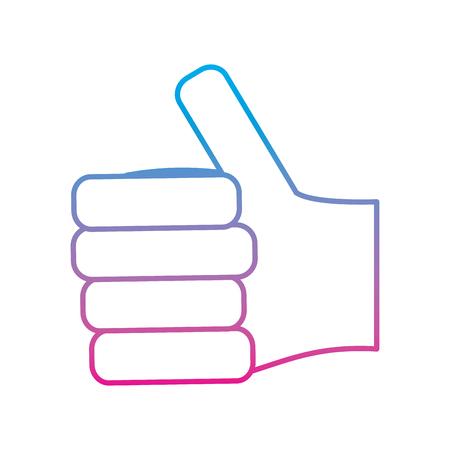 human hand arm palm showing five fingers vector illustration degrade color line image Illustration