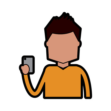 portrait character holding in hand smartphone device vector illustration