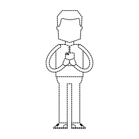standing man using smartphone chatting vector illustration dotted line image Illustration