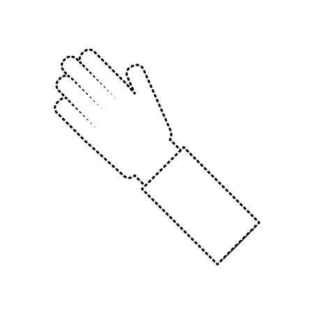 human hand arm palm showing five fingers vector illustration dotted line image