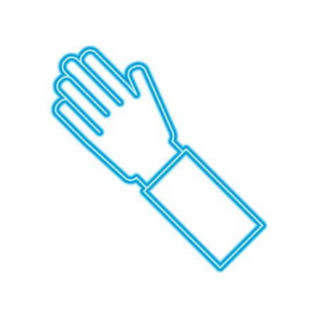 human hand arm palm showing five fingers vector illustration blue line image