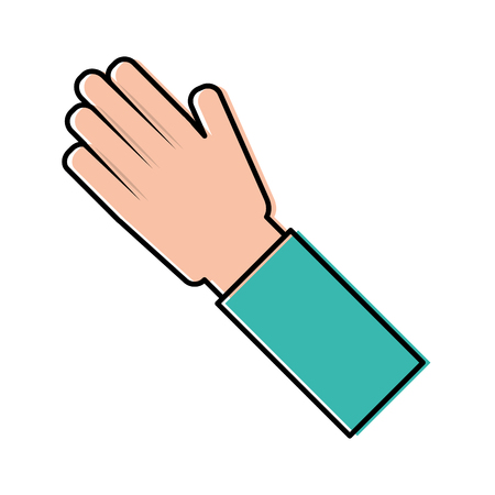 human hand arm palm showing five fingers vector illustration