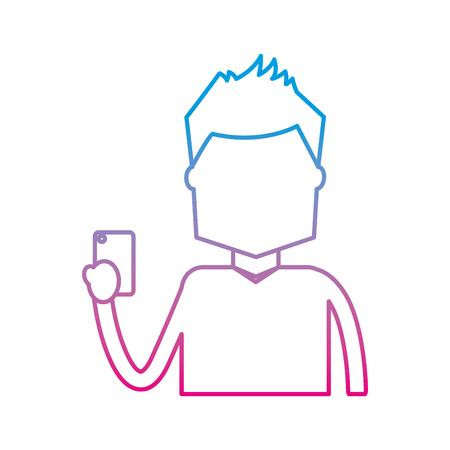 portrait character holding in hand smartphone device vector illustration degrade color line image Illustration