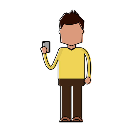 character holding in hand smartphone device vector illustration Illustration