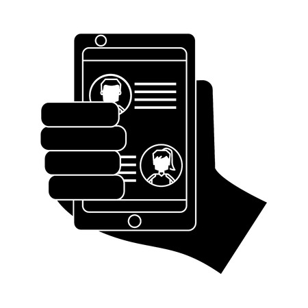 hand holding smartphone chat messages in screen vector illustration black and white image Stockfoto - 95586626