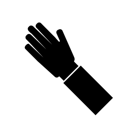 human hand arm palm showing five fingers vector illustration black and white image Stock Vector - 95586637
