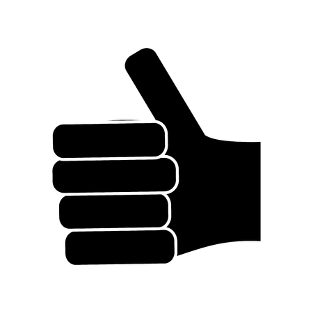 hand showing like making thumb up gesture vector illustration isolated black and white image