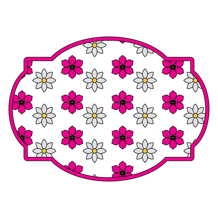 label floral decoration natural jasmine flower vector illustration Иллюстрация