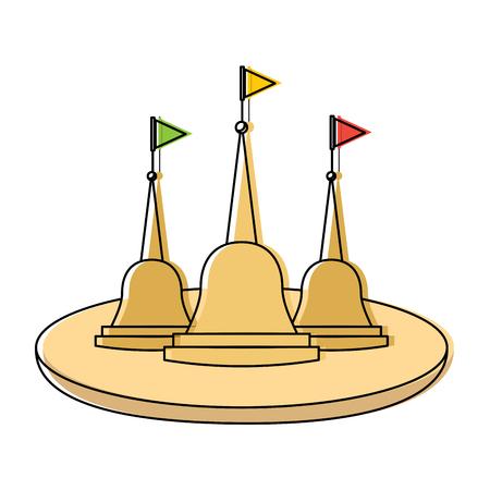 thailand temple religious culture structure vector illustration