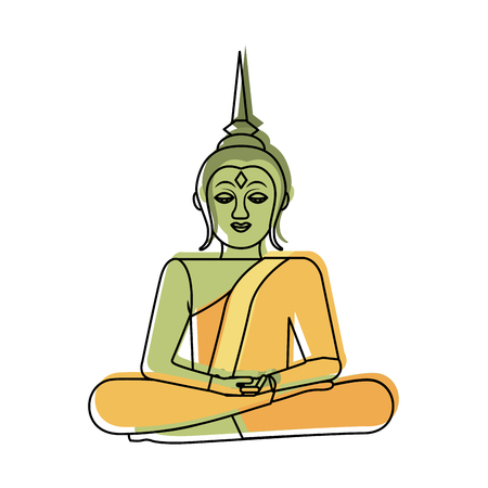 thailand buddha sitting lotus flower sacred religious vector illustration