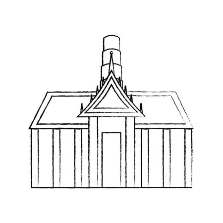 thai ancient temple architecture landmark vector illustration sketch design Illustration
