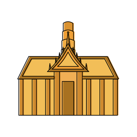 thai ancient temple architecture landmark vector illustration Illustration