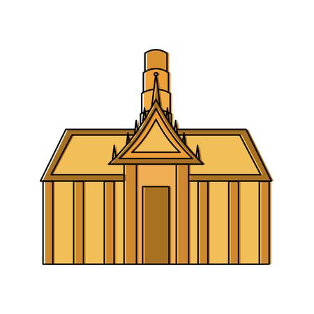 thai ancient temple architecture landmark vector illustration Illusztráció