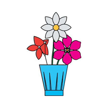 Flowers jasmine frangipani in vase decoration ornament vector illustration