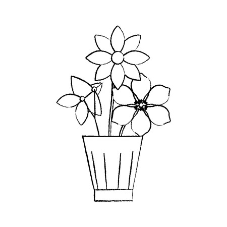 Flowers jasmine frangipani in vase decoration ornament vector illustration sketch design