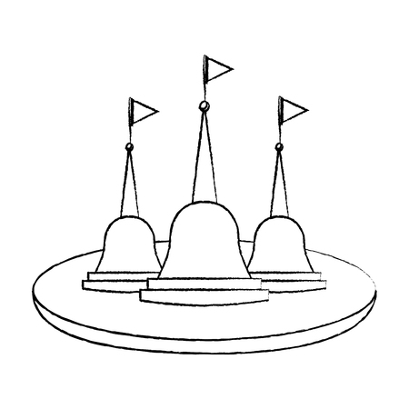 Thailand temple religious culture structure vector illustration sketch design Illustration