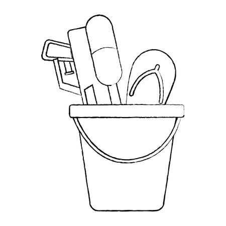 水ピストルとフリップフロップベクトルイラストスケッチデザインを備えたプラスチックバケツ