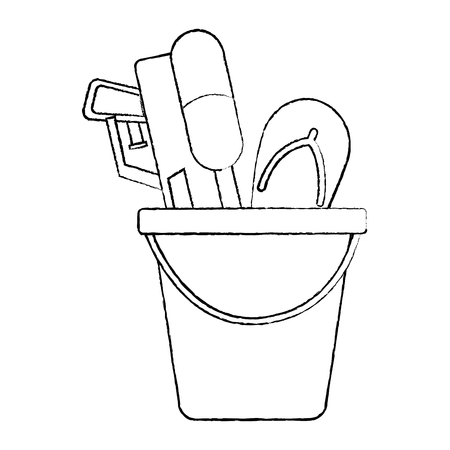 Plastic bucket with water pistol and flip flop vector illustration sketch design
